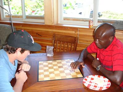 Kody and Julius trying checkers