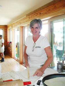 Aunt Becky making Lefse