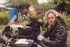 Fred Bower, parrots, and me, on the road near Santa Cruz, 1981.