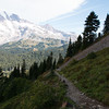 Looking back at Mt Rainier from the trail