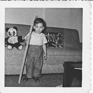 Me with a kinda creepy looking teddy bear. Probably at the Harrison apartment.