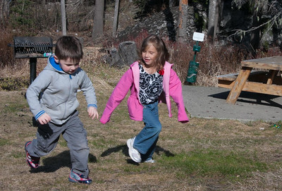 Christian and Audrey running at Government Camp.
