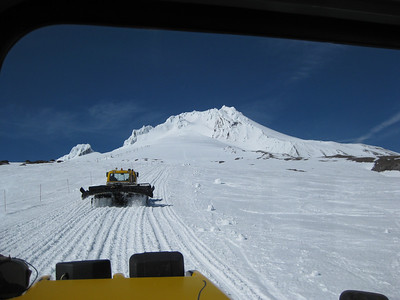 View from a snowcat taking us up to Silcox Hut before the wedding.