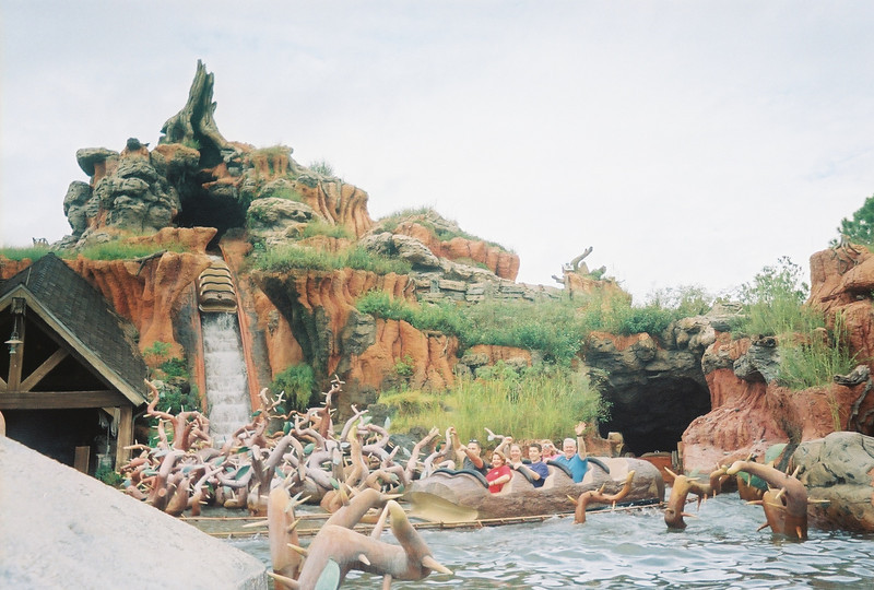 Of course, they want to start the day at Splash Mountain...  Little did they know how much time they would spend at Splash Mountain  ( this was beyond Brer Fox is causing trouble)  Oh well- I debated cropping this but I love the perspective.