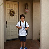 Marlin leaving the house on his way to the first day of First Grade.