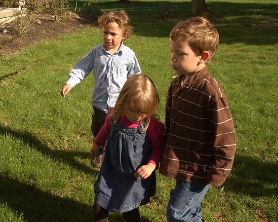 Xavier, Zara & Dominic looking for eggs