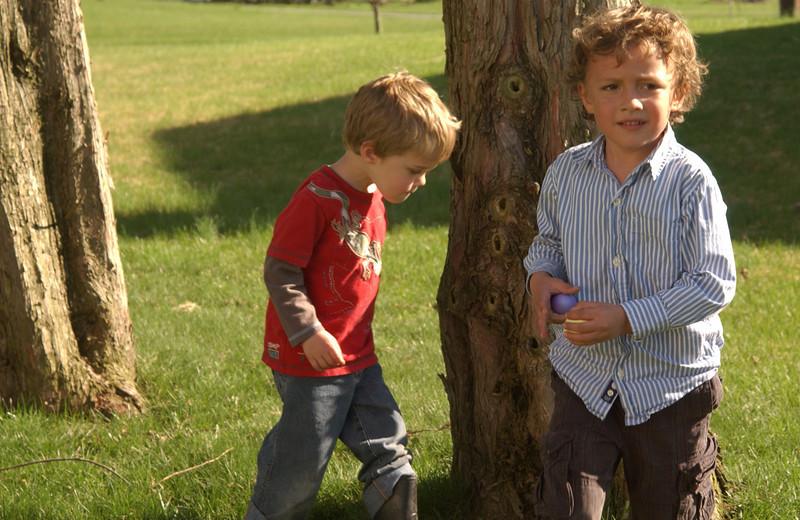 Xavier & Luke hunting for Easter eggs