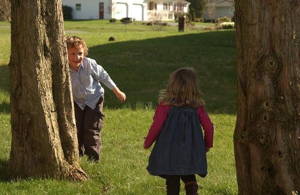 Xavier & Zara hunting for Easter eggs