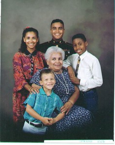 Family portrait of Mommy, Carmen, Joseph, Jonathan and Mark. Taken in Bermuda 1991.