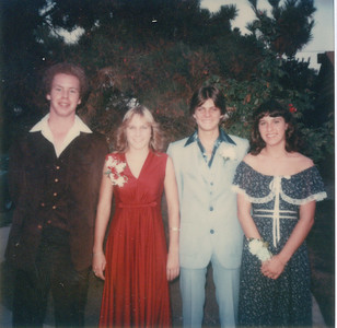 Before going to the Homecoming Dance (all in one car) With/ Richard Carol and Barbara Campbell