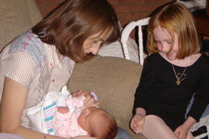 Aunt Libby and big sis Maddie with Lexi
