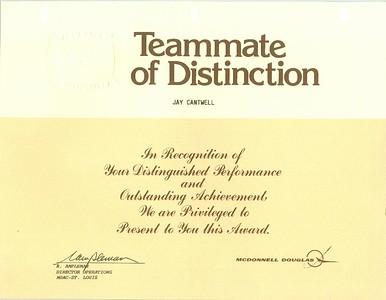 "Jays ""Teammate of Distinction"" Award McDonnell Douglas - May 1987"