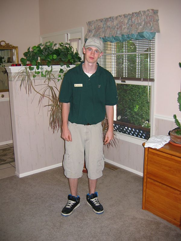 <big>Jack dressed in his work clothes for his cool job at</big><BR> Westwood Country Club in Ladue.<BR> May 2004