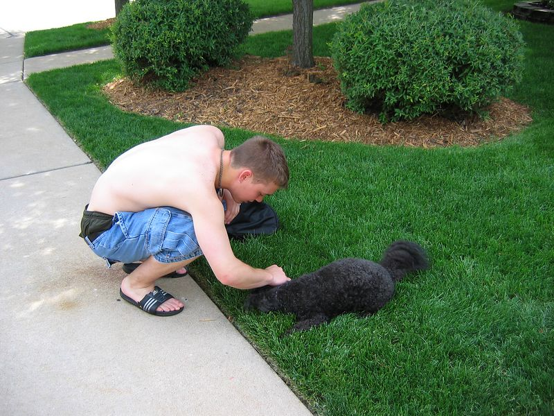 <big>Jay petting Joey</big><BR> May 2004