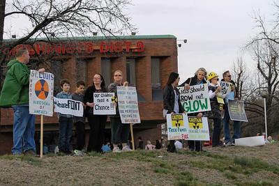 Protesting West Lake Landfill at Clinton Rally