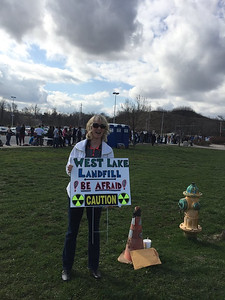 Protesting West Lake Landfill at Bernie Sanders Rally
