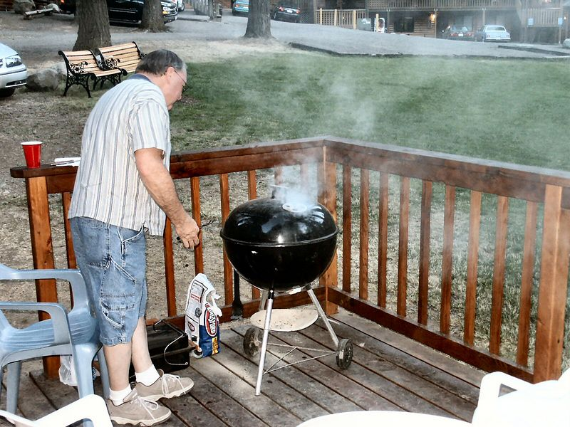 Gary barbecuing at Wallowa Lake