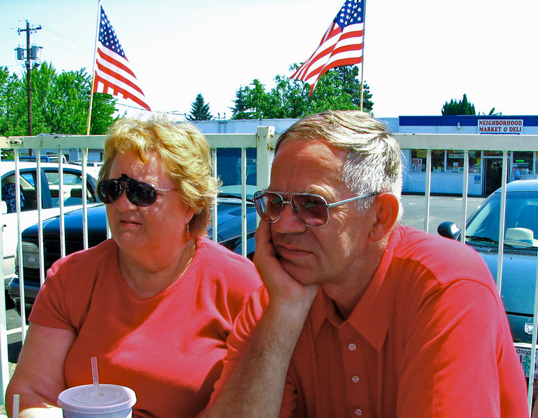 Ted & Sharon outside of the Burgerville restaurant in Monmouth, Oregon.