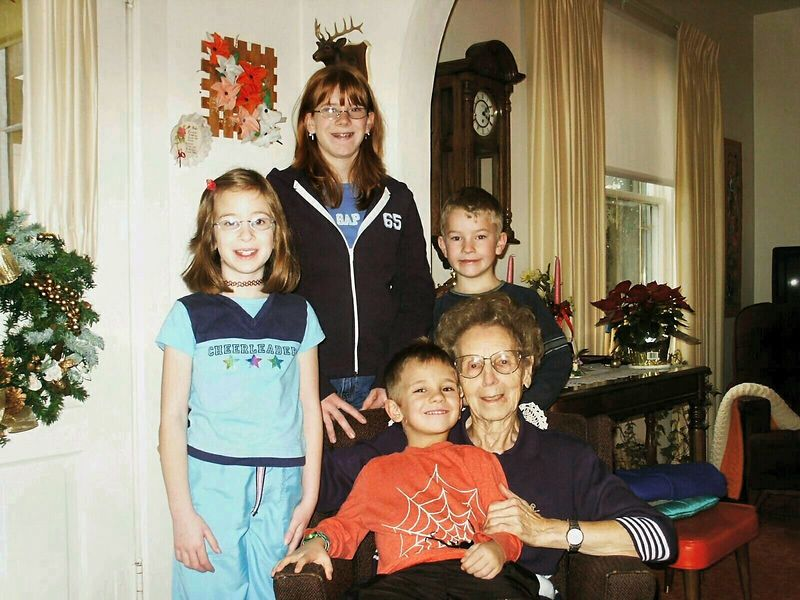 Grandma Esther with all of her great-grandchildren.