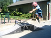 """Micah the Magnificent"" catching air on blades. I didn't take this; his older brother, Hunter, did."