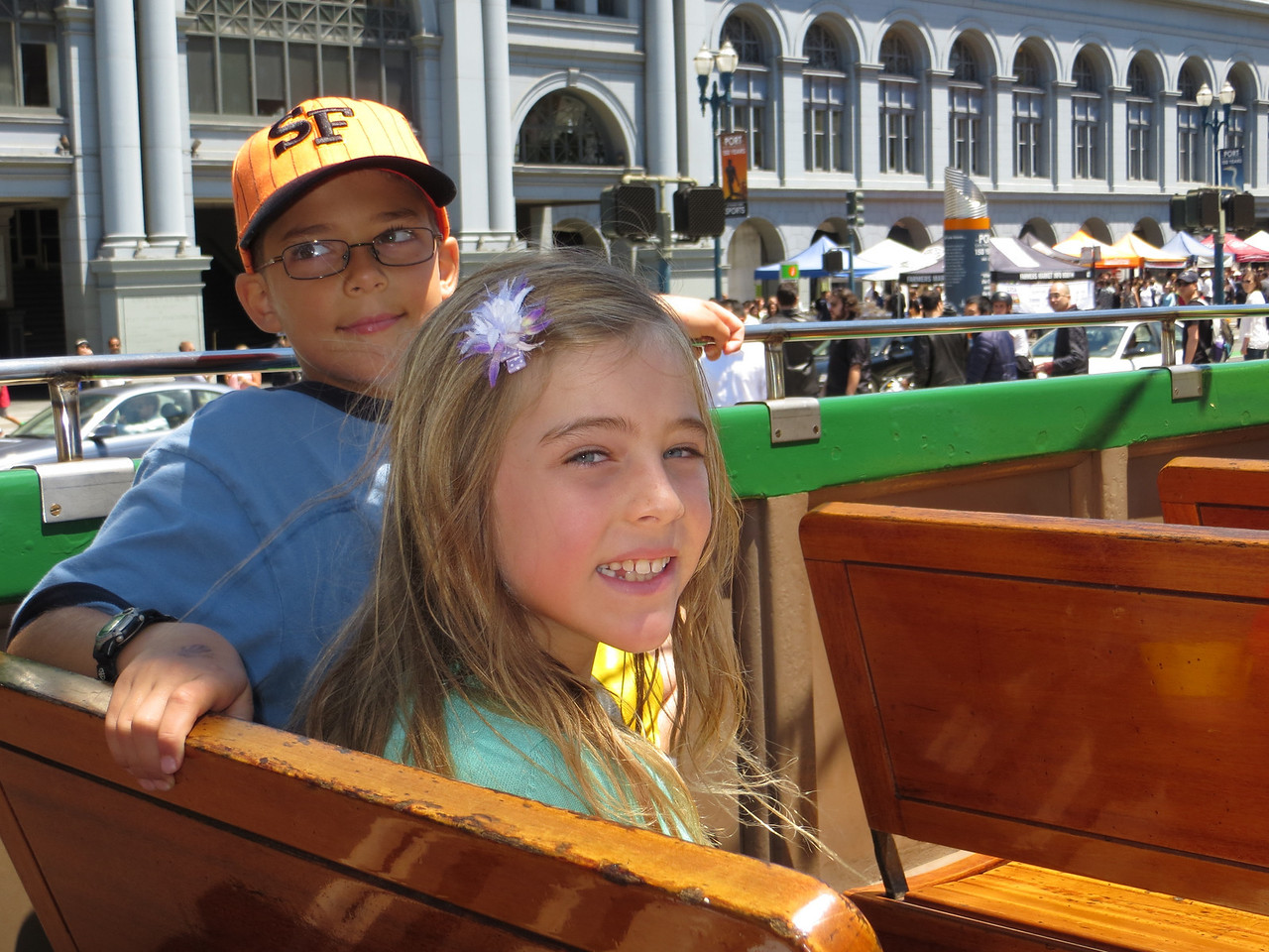 Austin and Sofia on the trolley