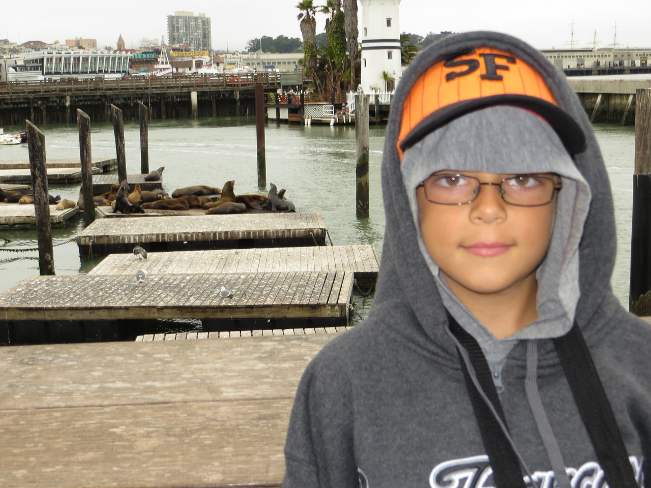 Austin near the sea lions at Pier 39 - it's cold!