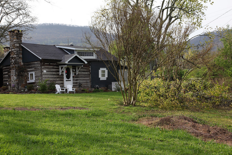 A view of our Log cabin with Raccoon Mt and Elder Mt behind us.