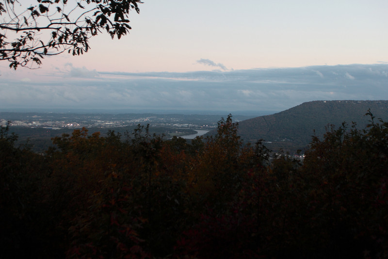 With the sun setting behind us,a eastern view with Lookout Mt on the right ,overlooking our Log cabin  from a Raccoon Mountain Pump storage overlook.