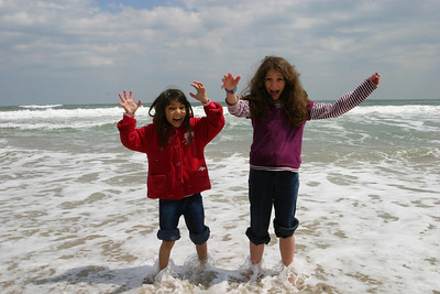Alizay and Anisa get the shock of the cold water.