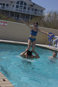 Pool antics.  Anisa on my shoulders.