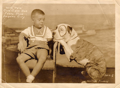 "Harvey with ""Pete,"" the Our Gang Dog, taken on the Steel Pier, Atlantic City, about 1934"