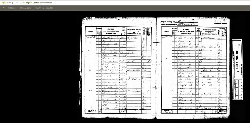 1841 Census - William Owen, Sarah, John (10 months), Joseph - brother