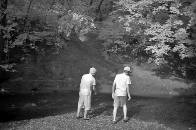 Infrared picture of the Stone guys checking out the small creek feeding into the Buffalo River.