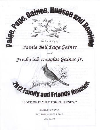 2012 Paige, Page, Gains, Hudson & Bowling Family & Friends Reunion