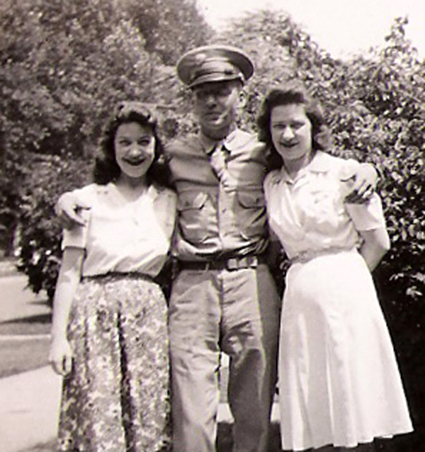 My Dad, George V. Bukowski (middle), my Mom Alice (right) and her sister Margret (left). 1943?