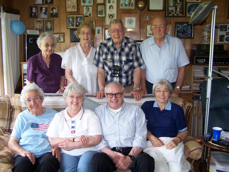 Marie Thorson, Amelia Paine, Ray and Frank Clark,<br /> Edith Clark, Evelyn and Harry Kohls, and Myrtle Clark