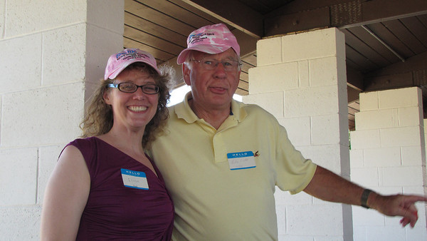 Elissa Alzate & Mike Clark sporting their new hats, donated by Dale Grovogel.