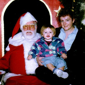 Kathy and Sydney Kane with a mall Santa. Sydney wouldn't go next to Santa without Mom! Coliseum Mall, Newport News VA.
