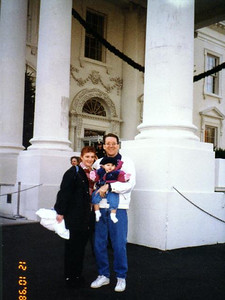 Pat, Kathy and Sydney Kane in front of the White House after taking a daytime tour to see the beautiful decorations.