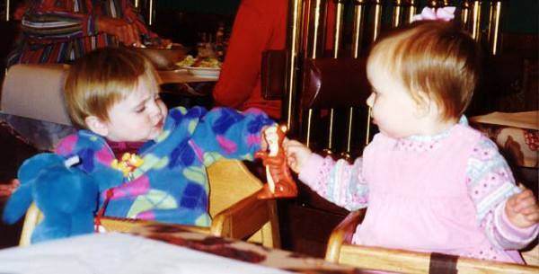 """""""Want to share toys? My Cookie Monster for your Tigger?"""" Sydney Jean Kane with Rachel Lucas (2 wks younger) at the Spaghetti Warehouse. We were able to visit Victor, Lara, Austin and Rachel while in Newport News VA."""
