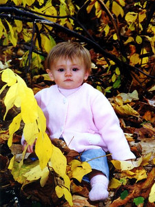 Sydney Kane enjoying the autumn weather and pretty leaves in Shenandoah National Park