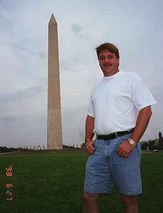 Andrew in front of the Washington Monument