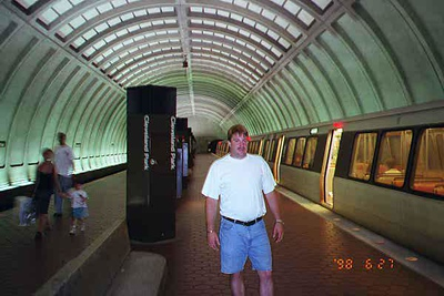 Andrew Kane leaving the Metrorail's Red Line train at the Cleveland Park station on his way to the Kennedy-Warren.