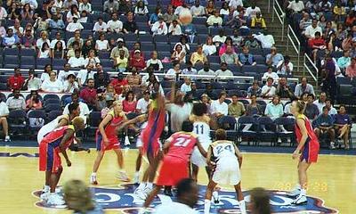 The WNBA Phoenix Mercury vs. Washington Mystics game at the MCI Center.