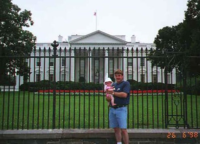 Andrew with Sydney in front of the White House