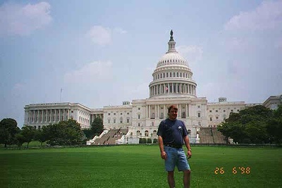 Andrew in front of the U. S. Capitol, in which we toured and saw the U. S. Senate in session