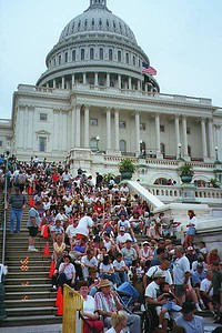 "Around 6 p.m. the steps and surrounding grounds of the U.S. Capitol are pretty well full in anticipation of the 8 p.m. PBS CAPITOL FOURTH 1998 free concert by the National Symphony Orchestra and the 9 p.m. fireworks show over the Washington Monument.   The concert was performed on the west lawn of the U.S. Capitol. Erich Kunzel conducted the performance, which was hosted by Tony Danza, and featured Michael Feinstein, Harolyn Blackwell and others. The fireworks display was set against the National Symphony's stirring performance of Tchaikovksy's ""1812 Overture"" and a John Philip Sousa march."