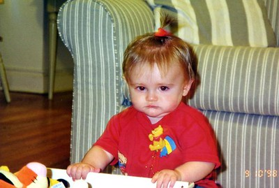 Sydney Jean Kane was not too happy with her first (and only as of 23 Dec) ponytail.