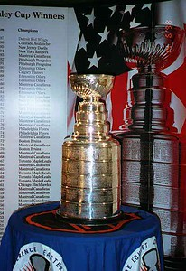 The National Hockey League's Stanley Cup on display at Union Station. The bowl that currently sits atop the Stanley Cup is a carefully constructed copy of the original bowl purchased by Lord Stanley in 1893. The original trophy was retired in 1969 because it had become brittle and easily damaged. It can still be viewed and studied at the Hockey Hall of Fame in Toronto.