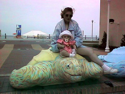 Kathy and Sydney taking advantage of some of the other public art. The Boardwalk in Virginia Beach also has open air bandstands and a nice walking path next to the beach (background).